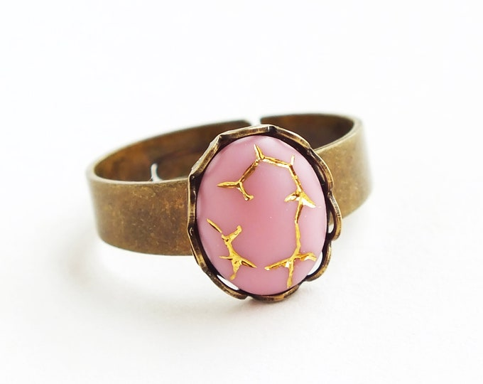 Small Pink Gold Ring Crackle Glass Ring Vintage Light Pink Glass Ring Antique Brass Adjustable Stacking Ring Gold Crackle Jewelry