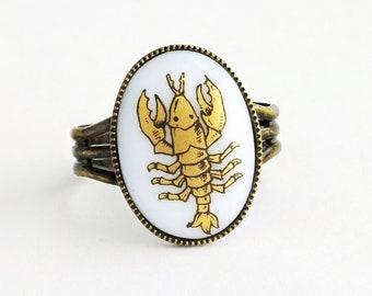 Gold Scorpio Ring Vintage Milk Glass Cabochon Victorian Zodiac Astrology Scorpion Ring Vintage Scorpio Jewelry November Birthday Gift