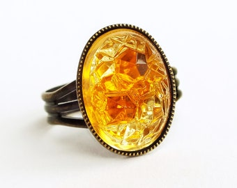 Topaz Glass Sugar Stone Ring Honey Glass Ring Rare Vintage Jewels Statement Ring Jewelry Adjustable Ring