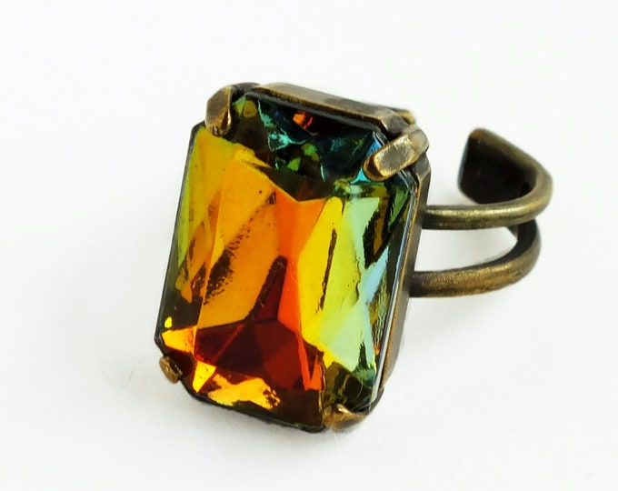 Rainbow Glass Ring Orange Green Blue Vintage Sahara Gold Jewelry Crystal Jewel Bronze Ring Statement Cocktail Ring Octagon Rhinestone