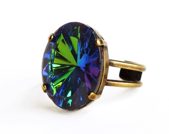 Iridescent Blue Green Rhinestone Ring Vintage Rivoli Crystal Ring Adjustable Vitrail Cocktail Ring Jewelry