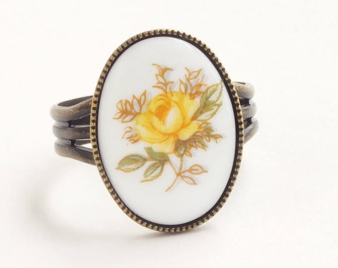 Yellow Rose Cameo Ring Vintage Glass Flower Limoge Victorian Floral Jewelry Yellow Rose Gift For Her