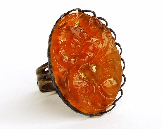 Large Orange Ring Vintage Carved Glass Floral Cabochon Stone Adjustable Marmalade Orange Ring
