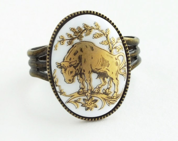White Gold Taurus Ring Vintage Glass Zodiac Jewelry Cameo Taurus Ring Zodiac Taurus Gift for Her