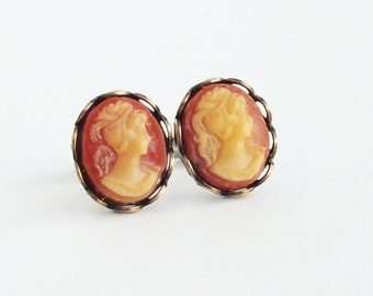Cameo Stud Earrings Vintage Carnelian Cameo Studs Coral Cameo Post Earrings Hypoallergenic Studs Victorian Style Jewelry