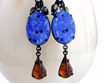 Royal Blue Glass Dangle Earrings Vintage Carved Glass Jewelry Royal Blue Root Beer Brown Earrings