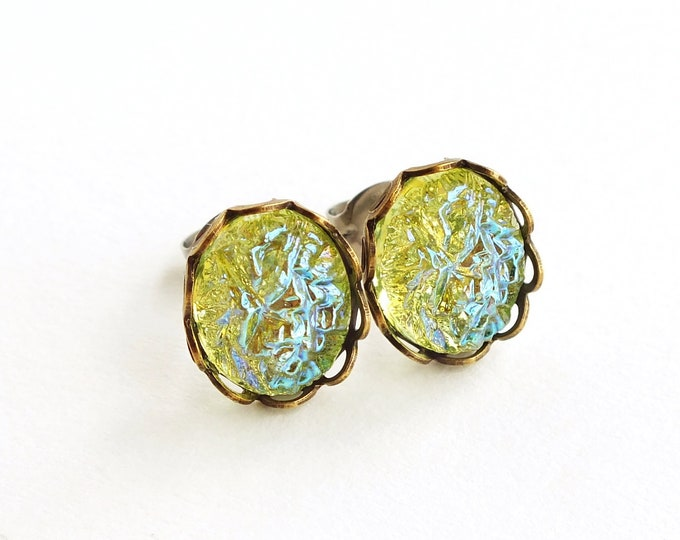 Iridescent Green Sugar Stone Earrings Iridescent Green Crystal Studs Small Vintage Glass Faux Druzy Crystal Stud Earrings