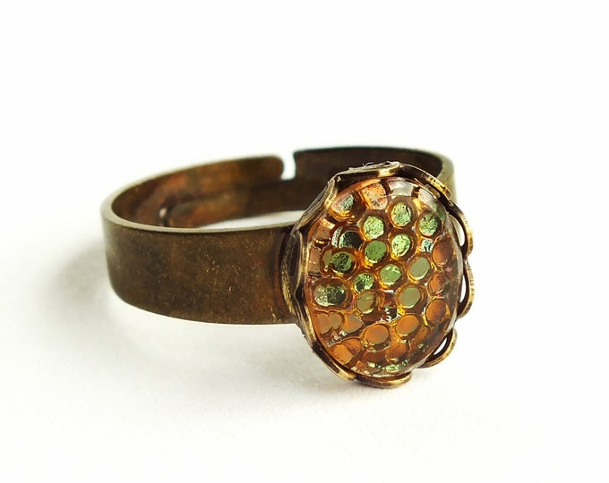 Autumn Fall Ring Olive Amber Vintage Iridescent Green Honeycomb Adjustable Ring Autumn Fall Jewelry
