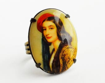 Fine Art Cameo Ring Vintage Oil Painting Woman Portrait Jewelry Baroque Lady Portrait Jewelry