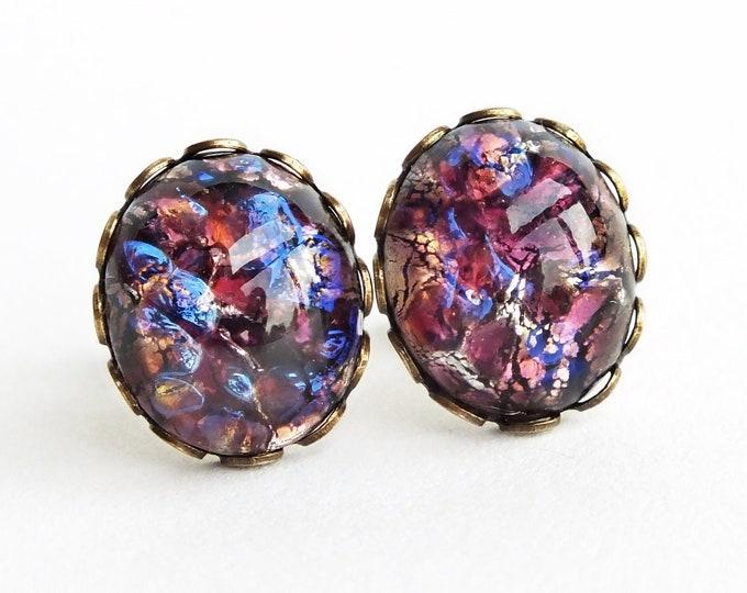 Amethyst Glass Opal Stud Earrings Glass Amethyst Earrings Purple Fire Opal Post Earrings Hypoallergenic Glass Amethyst Studs