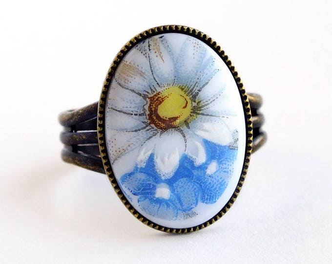 Blue White Daisy Ring Vintage Glass Daisy Flower Cameo Ring Victorian Adjustable Floral Ring Daisy Jewelry