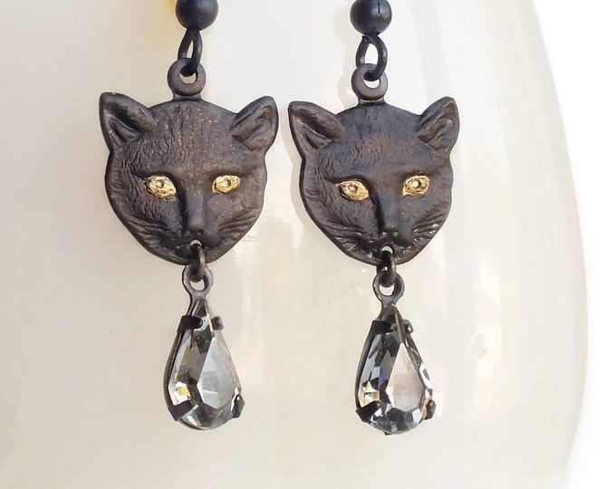 Halloween Black Cat Dangle Earrings Vintage Style Cat Dangles Black Cat Halloween Earrings Cat Jewelry