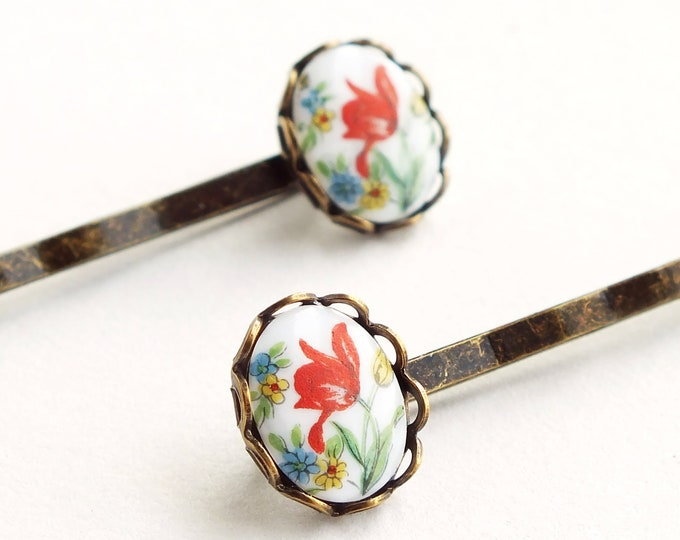 Small Tulip Cameo Hair Pins Red Tulip Flower Bobby Pins Vintage Floral Cameo Tulip Hairpins Cute Victorian Accessories Gift For Girlfriends