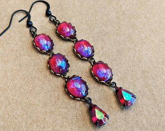 Glass Dragons Breath Earrings Red Glass Mexican Opal Earrings Vintage Iridescent Red Glass Earrings Gothic Jewelry