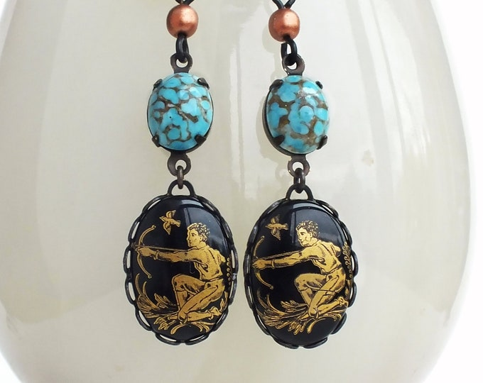 Sagittarius Turquoise Earrings Victorian Astrology Jewelry Sagittarius Zodiac Vintage Cameo Jewelry