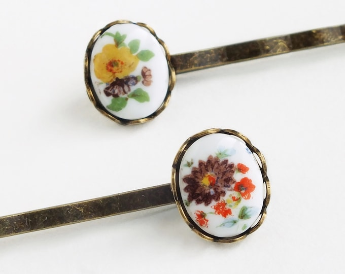 Victorian Floral Cameo Hair Pins Small Vintage Flower Bobby Pins Cameo Victorian Accessories Botanical
