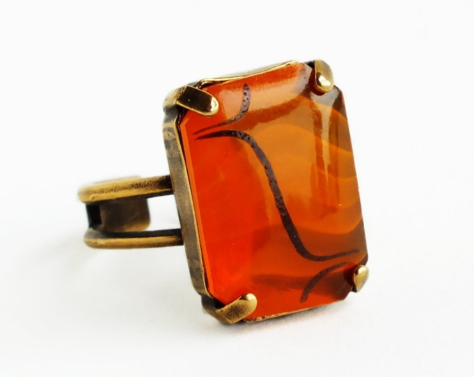Orange Glass Ring Vintage Art Deco Glass Ring Large Chunky Orange Statement Ring Jewelry Adjustable Ring