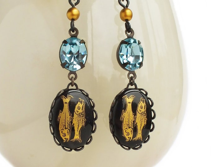Pisces Aquamarine Earrings Victorian Astrology Jewelry Aquarius Zodiac Vintage Cameo Jewelry