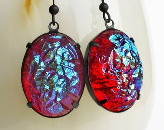 Large Iridescent Red Statement Earrings AB Glass Druzy Statement Jewelry Vintage Faux Drusy Earrings Colorful Glamorous Statement Earrings