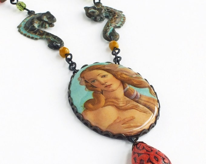 Venus Necklace Large Vintage Renaissance Oil Painting Cameo Pendant Fine Art History Jewelry Sea Foam Green Yellow