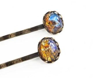 Glass Opal Hair Pins Glass Topaz Hair Pins Topaz Opal Bobby Pins Small Vintage Yellow Glass Harlequin Fire Opal Hair Pins Iridescent Glass