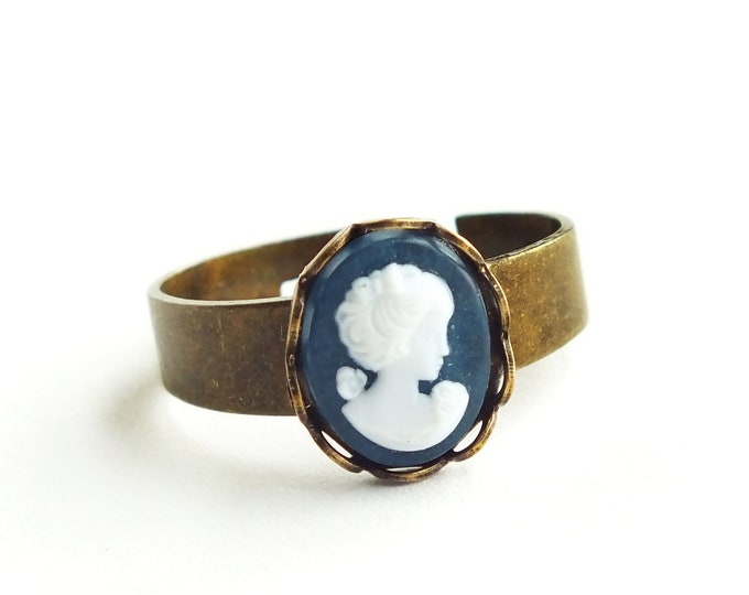 Small Blue Cameo Ring Navy Ring Vintage Dark Blue Resin Cameo Ring Adjustable Stacking Ring Small Cameo Ring Victorian Cameo Jewelry