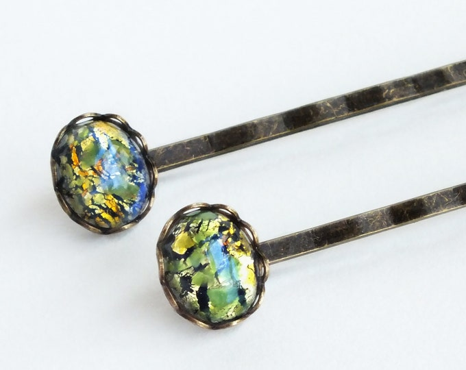Green Glass Opal Hair Pins Vintage Iridescent Glass Bobby Pins Olive Green Glass Hair Pins Glass Olivine
