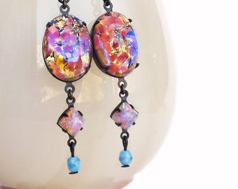 Pink Glass Opal Dangle Earrings Vintage Glass Fire Opal Cabochons Iridescent Pink Earrings Statement Dangles Pink