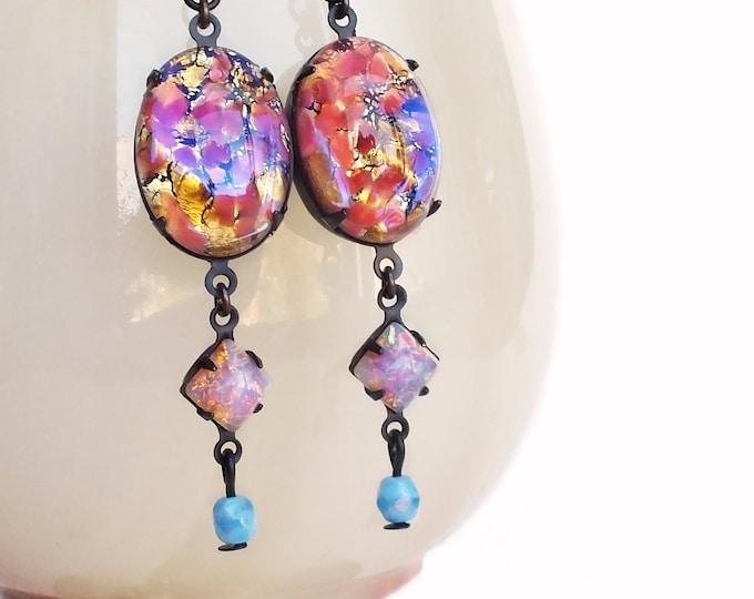 Pink Glass Opal Dangle Earrings Vintage Glass Fire Opal Cabochons Iridescent Pink Earrings Statement Dangles Pink