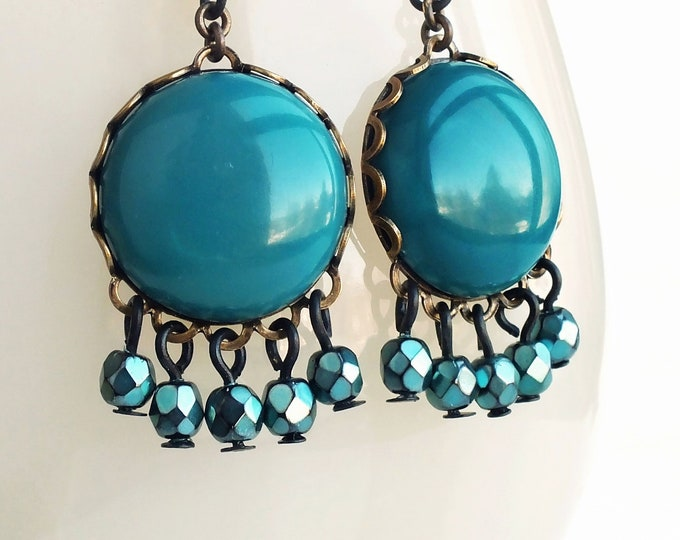 Teal Chandelier Dangle Earrings Teal Glass Dangles Vintage Cabochons Teal Earrings