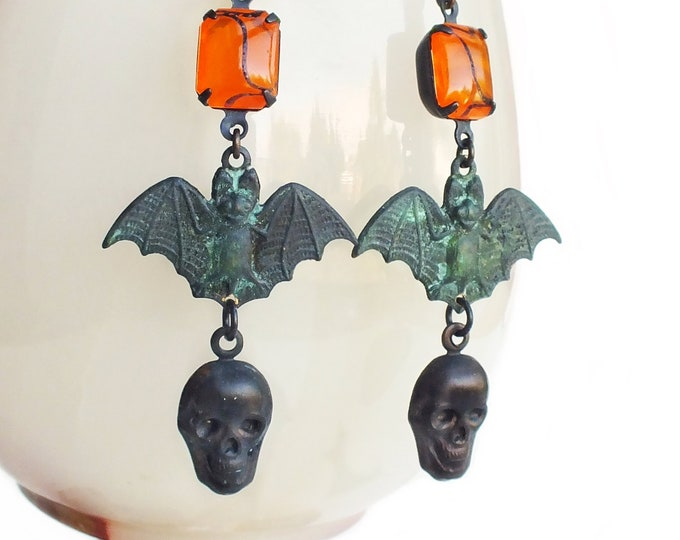 Halloween Black Skull Earrings Bat Earrings Black Brass Earrings Gothic Skull Jewelry Verdigris Earrings Halloween Jewelry Goth