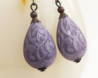 Purple Carved Drop Earrings Large Vintage Ornate Bead Dangle Earrings Victorian Purple Jewelry