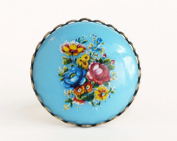 Large Flower Ring Light Blue Floral Ring Vintage Cameo Ring Chunky Statement Ring Light Blue Jewelry