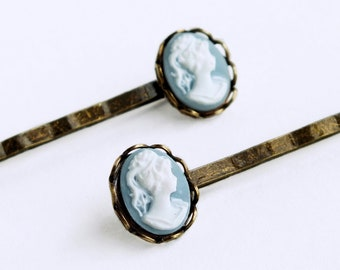 Light Blue Cameo Hair Pins Vintage Blue Cameo Bobby Pins Victorian Hair Accessories Light Blue Bridal Hair Pin Victorian Accessories