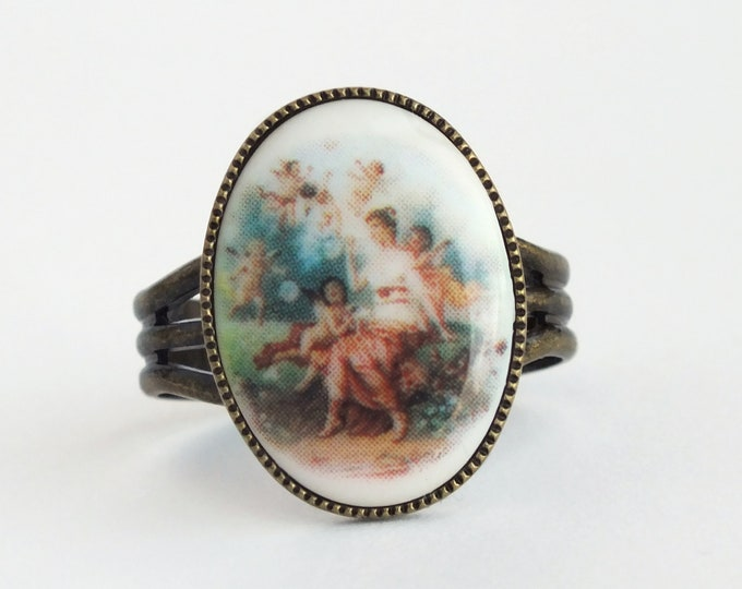 Angel Cameo Ring Vintage Cherub Jewelry Adjustable Brass Ring Victorian Jewelry Oil Painting Fine Art Jewelery