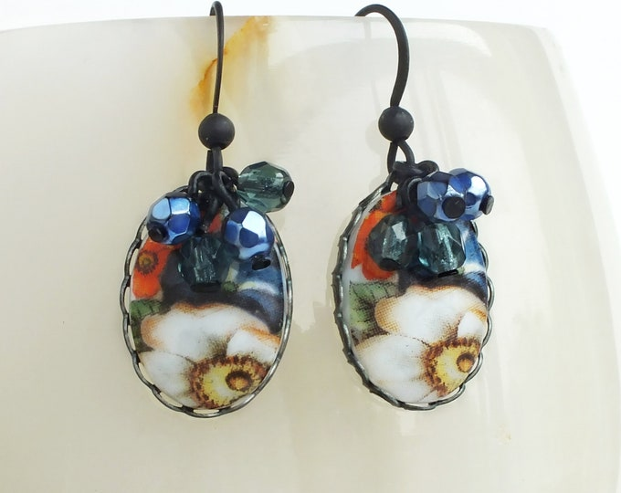 Blue Floral Earrings Vintage Flower Cameos Blue Orange Flower Earrings Floral Jewelry Garden Flowers