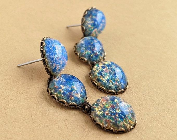 Blue Glass Opal Earrings Light Blue Glass Dangle Post Earrings Hypoallergenic Jewelry Long Glamorous Statement Earrings