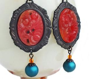 Glass Carnelian Earrings Large Vintage Carved Floral Glass Earrings Dark Red Orange Statement Earrings Carnelian Jewelry