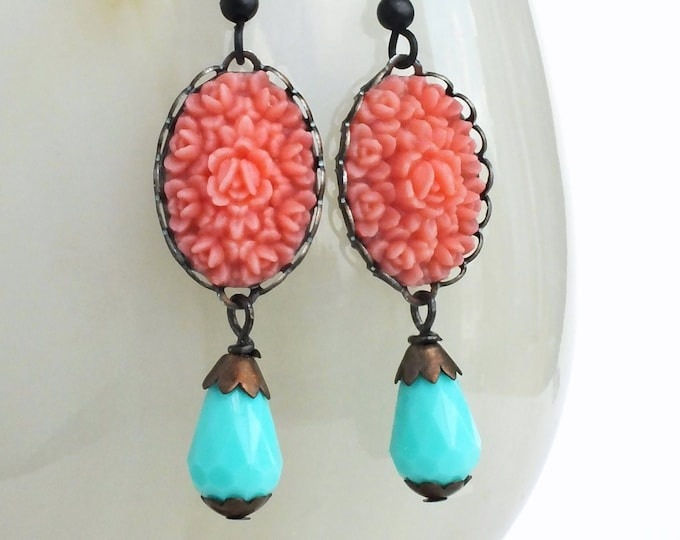 Pink Rose Earrings Vintage Carved Flower Cabochons Pink Aqua Jewelry Pink Rose Jewelry Romantic Wedding Bridal Jewelery