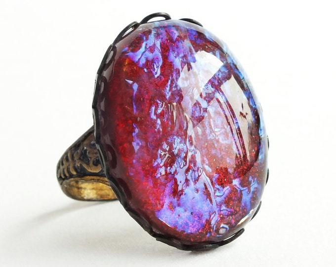Glass Dragons Breath Ring Vintage Iridescent Red Glass Fire Opal Large Statement Ring Glass Opal Jewelry