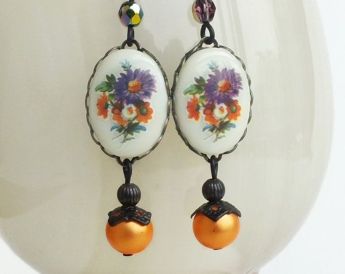 Purple Floral Earrings Vintage Glass Flower Cameos Purple Orange Earrings Floral Dangles Victorian Jewelry Romantic