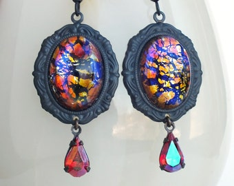 Glass Dragons Breath Opal Earrings Vintage Iridescent Glass Orange Mexican Fire Opal Victorian Glass Opal Jewelry