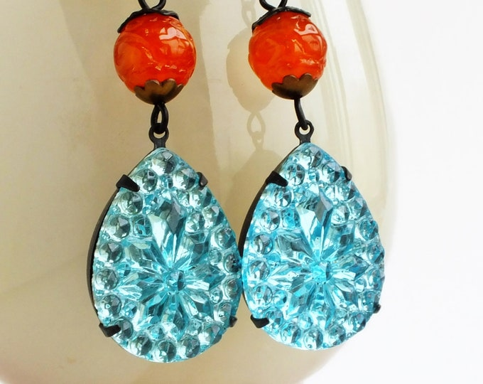 Large Aqua Rhinestone Crystal Earrings Vintage Turquoise Blue Pear Dangle Glass Earrings Glamorous Aqua Blue Orange