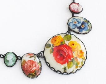 Floral Statement Necklace Large Vintage Floral Pendant Victorian Cameo Necklace Flower Spring Jewelry