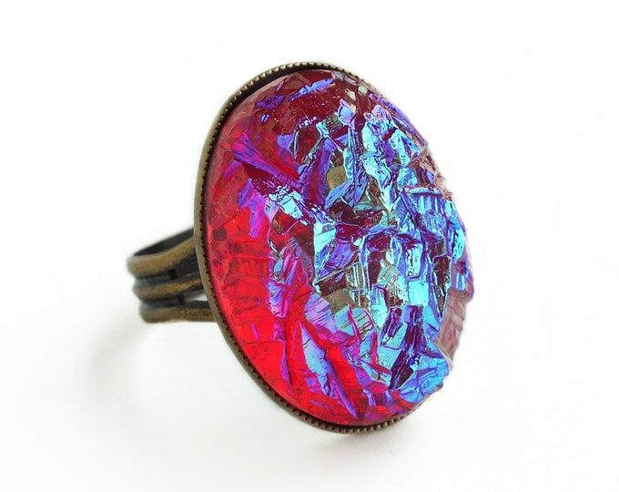 Large Iridescent Ruby Druzy Ring Red Glass Faux Drusy Cabochon Ring Large Red Statement Cocktail Ring