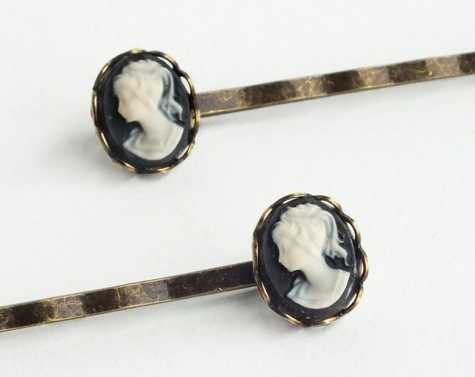 Cameo Hair Pins Vintage Black Cameo Bobby Pins Victorian Small Cameo Hair Pins Victorian Hair Accessories Vintage Style