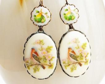 Bird Cameo Earrings Vintage Floral Bird Dangles Bird in Fruit Tree Jewelry Victorian Pear Earrings Finch Jewelry Statement Bridal Earrings