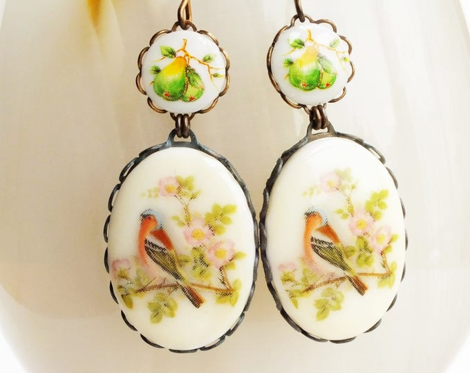 Bird Cameo Earrings Vintage Floral Bird Dangles Bird in Fruit Tree Jewelry Victorian Pear Earrings Finch Jewelry Statement Bridal Earrings