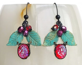 Red Berry Earrings Iridescent Red Crystal Earrings Verdigris Leaves Iridescent Red Jewel Berry Jewelry