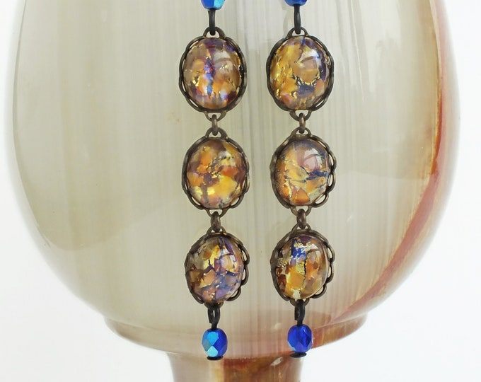 Topaz Glass Opal Earrings Vintage Iridescent Amber Earrings Opal Jewelry Dangle Earrings